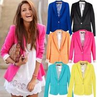 Top Quality Plus Size 2014 Woman Suit Jackets Foldable Sleeve Brand Style Outerwear Plus Size XS S M L Jacket Coat For Women