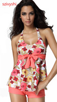 Free Shipping! Sexy Flower pattern Swimwear Tankinis set Y0050