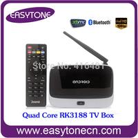 factory supply!RK 3188 quad core android tv box RAM 2GB, ROM 8GB HDMI/AV/optical fiber/RJ45/WIFI/3USB #Free shipping
