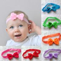 Hair accessories 10pcs baby girls 3d lace rose chiffon bowknot with lace headband fashion baby headband