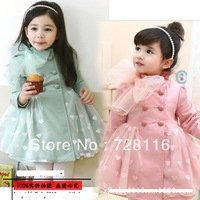 Free shipping5pieces/lot Children girls bow net yarn trench coat Girls love long sleeve lace trench coat Girls love lace coat