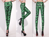 New Arrival ! Women 2013 Galaxy Designed digital Printed Galaxy Green Suspenders Leggings free shipping S106-338
