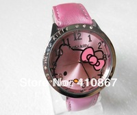 Free Shipping Wholesale hello kitty cartoon children watch women fashion quartz wrist watch 1pcs
