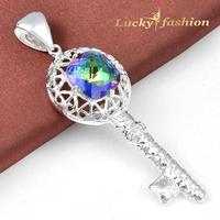 Luckyshine New Style Beautiful Shiny Mystic Topaz Classy Cute Key Xmas Gift  Silver Pendant For Women Men