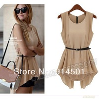 1PC Fashion Apricot/Black Luxury Women's Sleeveless Irregular Simulation II Chiffon OL Lady Blouse With Belt Shirt Tops 652567