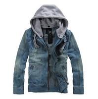 Grand sale 2014 tops cotton  Men's Hoodie Jeans Jacket coat outerwear hooded Winter coat hoodie denim jacket coat cowboy wear