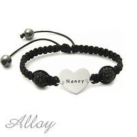 Custom Alloy heart name bracelet colorful bead bracelet Lover alloy bracelet hot sale