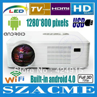 New! Android WIFI 1280*800 Full HD 3200Lumen Led LCD Projector Contrast 4000:1 Digital Video Portable 3D Smart Projector