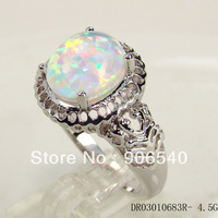 White Opal Women Ring Vintage Jewelry  DR03010683R-4.5G  Free Shipping