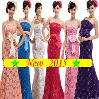 2014 new arrival strapless dress Bridal lace blue evening dress lace flower long design fish tail short purple formal dress