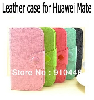 Free shipping PU Leather Case Protective Flip Wallet Cover for Huawei Ascend Mate 6.1 inch phone with retail package