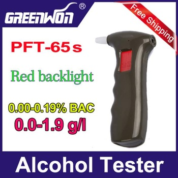 Free shipping 1pc/lot handheld shape Alcohol Tester, Digital Breathalyzer with red backlights (0.19% BAC Max) PFT-65S