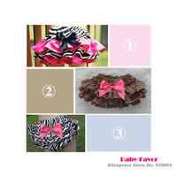 Free Shipping 1pc Baby Girls Kids Toddler Infants Newborn Ruffle Short Pants Bloomers Bottom Skirt Zebra Leopard Print Pink Bow