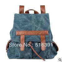 Retro school bag for girls denim color backpack shoulder school bag  free shipping