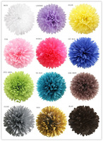 Decorative Flower 8 Inch Tissue Paper Pom Poms With 20 COLORS For Party Decoration, FREE SHIPPING