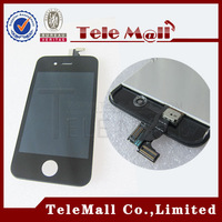 Free Shipping ! Wholesale Black Color LCD Touch Screen Digitizer Assembly with Dush Mest + Front Camera Holder For iPhone 4 4G