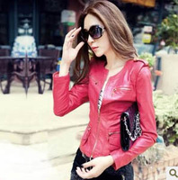 New Hot Selling 4 Clors Korean Autumn Slim Brand Rivet Jackets PU Black Short Motorcycle Faux Leather Jacket Women Zipper S-XL