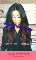 Free shipping 18'' #1b/#4 two tone color brazilian virgin human hair full lace wigs & glueless front lace wigs