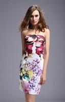 Summer fashion women's 2014 new arrival Racerback Cutout Print sleeveless tube top Dress JJL Free Shipping