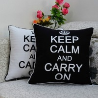 45*45 cm Vintage Fashion Back White Keep Calm and Carry On Printed Microfiber Throw Cushion Pillow Cover for Sofa Home Decor