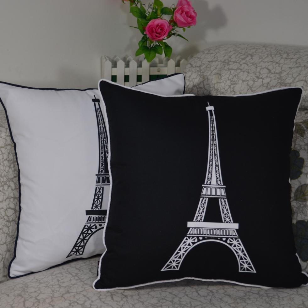 45*45 cm Decorative Vintage Paris Eiffel Tower Printed High Quality Throw Cushion Cover Pillow Case for Home Decor Sofa(China (Mainland))