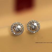 """Heart & Arrows"" cut Top Quality 0.75 carat Swiss CZ Diamond Stud Earring (Niceter N8052)  Wholesale Women Accessories"