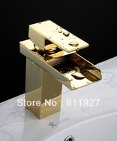 free shipping gold bathroom faucets brass waterfall faucet basin tap mixer CE approved with high quality