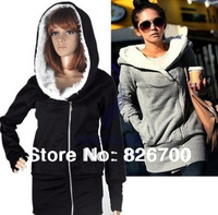 Free shipping 2013 Korea Women Hoodies Coat Warm Zip Up Outerwear Sweatshirts 2 Colors Black Gray