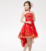 Free shipping Guaranteed 100%  low-high one-piece dress the bride wedding dress red lace wedding growns wholesale are retail