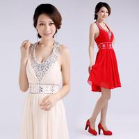 Free Shipping  2014 Latest Design Fashion Sweet Diamond Flower Decoration Chiffon Halter-neck  Prom Gown Evening Dresses