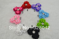 Trail order triple satin rose flower with Rhinestone flower satin ribbon flower head hair accessories 30pcs/lot