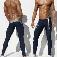 1pcs mens AQUX brand swimwear swimsuits pants tight fashion hot sea black blue sport long sexy gym summer wholesale pants swim