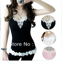 New 2013 Free Shipping Promotion Sports Shirt is Women Brand Vest lace Woman's Sleeveless T-Shirt TANKS