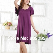 *SLQ 2002 Bamboo Fiber Home Wear Sleeping Gown Round Neck Solid(China (Mainland))