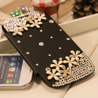 Luxury Diamond Bling original Battery flip Leather Case swarovski Crystal PU skin cover for Samsung Galaxy S3 i9300 Freeshipping