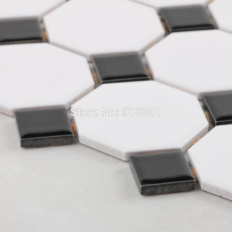 Vloertegels Keuken Zwart Wit : Black and White Octagon Floor Tile