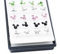 earrings 925 Sterling silver earrings 2014 Fashion  Stud Earrings For Women Multi-Colored Mickey Mouse ED-031