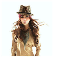 2013 Korean Version Cap Hat Fashion Leopard Belt For Male And Female British Jazz Hat