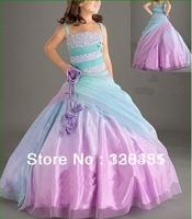 new arrival ball gown spaghetti straps sleeveless beaded floor length  flower girl dress for child