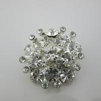 (FL36) Free shipping! 20 X Beautiful Clear Rhinestone Crystal Button Silver Tone Emebellishment