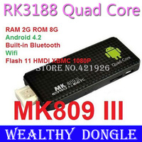MK809 III Android HDMI Mini Box Stick Rockchip RK3188 Quad Core Cortex A9 MK809III MINI Androind 4.2 PC 2GB RAM 8GB ROM 1.8GHz