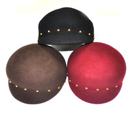 2013 New Adult Students Buckle Equestrian Rivet Cap Hat Cashmere Hat Fashion Hats wholesale Fashion Wild Woolen  Hats