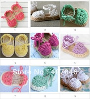 Crochet baby shoes handmade infant cute sandals assorted colors tied  cotton yarn 0-12M 12pairs/lot custom