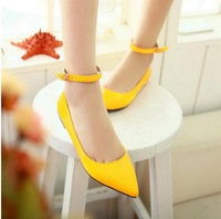 New candy color patent leather shoes ,Pointed flat  boat shoes large size Us 9-10, drop shipping ankle strap girls shoes