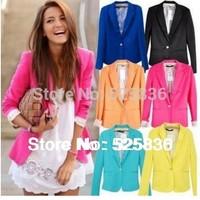 NEW 2014 blazer women jacket women coat women blazer suit foldable jackets women clothes suit one button shawl cardigan coat