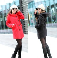 2013 New Autumn/Winter Fashion Women Hooded Single Breasted Cashmere Wool Blends Coat Jackets Free Shipping LJ692