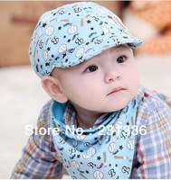 2 set /lot  Suit Baby Hat and Caps+ Bib Baby Brim hat Cotton 3-24Month Unisex Baby peaked cap Four season Free Shipping