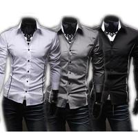 Mens Casual Fashion Shirt Long Sleeve White Solid Shirts For Men Plus Size 3xl Dress Shirts Cheap Men's Shirt Wholesale QY5902