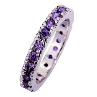 Wholesale  Dazzling Round Cut Purple Amethyst 925 Silver Ring Size 6 7  8 9 10 11  Romantic Love Style
