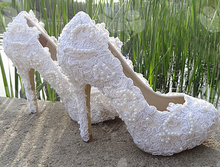 New Height 4CM,6CM,8CM,10CM Sexy White Pumps Pearl Shoes Bride Crystal Lace Wedding Shoes Married Yarn High-Heeled Shoes(China (Mainland))